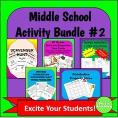 A great deal on 5 activities for the middle school math classroom!  At this price, it's like getting one product FREE!
