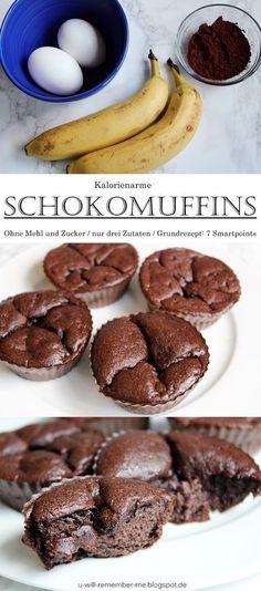 {REZEPT} – Kalorienarme Bananen-Ei-Schoko Muffins // Kein Zucker und Mehl // 7 S… {RECIPE} – Low-calorie banana-egg-chocolate muffins // No sugar and flour // 7 smartpoints for all // WeightWatchers Healthy Sweets, Healthy Dessert Recipes, Healthy Baking, Cupcake Recipes, Low Calorie Baking, Healthy Cookies, Keto Friendly Desserts, Low Carb Desserts, Low Carb Recipes