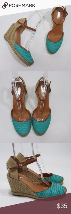 """Halogen Espadrilles Wedge Ankle Strap Heel *S9 Excellent gently worn condition, light sole wear (pic 8). Great ankle strap espadrilles wedges with blue leather toe accents. [Size 11M Heel 4"""" 0.5"""" Platform] Leather upper. Turquoise blue. Sandra Wedge.  // No holds, trades, or modeling. Colors may vary on screen. Please use measurements. Offers welcome.   *Last characters in title is inventory number. Halogen Shoes Heels"""