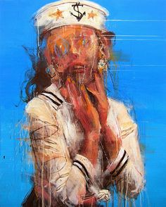 Artist: Kim Byungkwan {contemporary evocative figurative abstract #expressionist female sailor woman smudged painting grunge drips #noveltechnique}
