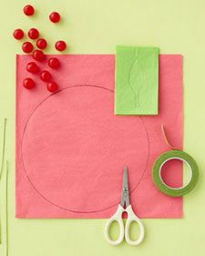 materials for Cherry-Bomb Wedding Favor - tissue paper, Covered floral wire, Light-green floral tape