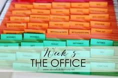 Tips on how to get your home office organized the right way.  Home Organization Challenge Week 5 The Office via A Bowl Full of Lemons #officeorganization #office #organized