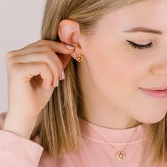 Who said you can't wear gold and diamonds with your favorite Sunday sweatshirt? Triangle Earrings, Stud Earrings, Makeup Utensils, Dana Rebecca, 14 Karat Gold, Bridal Rings, Diamond Studs, Round Diamonds, Sunday