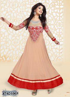 1ee65f9f00d Brilliant Beige Coloured Georgette Anarkali Semi stitched Salwar Suit  Designer Salwar Suits