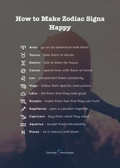 Here is how to make zodiac signs happy. What makes YOU happy? Here is how to make zodiac signs happy. What makes YOU happy? Zodiac Signs Chart, Zodiac Funny, Zodiac Sign Traits, Zodiac Signs Astrology, Zodiac Signs Aquarius, Zodiac Signs Horoscope, Zodiac Star Signs, Capricorn Facts, My Zodiac Sign