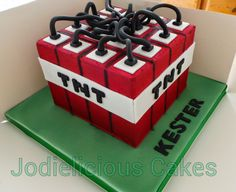 Minecraft TNT cake.  Airbrushed chocolate ganached cake