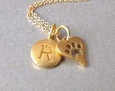 Gold Initial & Paw Print Charm Necklace - Personalized
