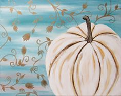 """Social Artworking Canvas Painting Design - White Pumpkin Go with a sophisticated color palette for the autumn season with cool shades of white and blue as well as pops of metallic to add depth and warmth. The rustic style lends itself well to farmhouse decor and would look nice hanging over a farmhouse sink.  CANVAS SIZE:  16"""" x 20""""  TIME TO PAINT:  approximately 2 hours"""