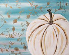 Social Artworking Canvas Painting Design - White Pumpkin