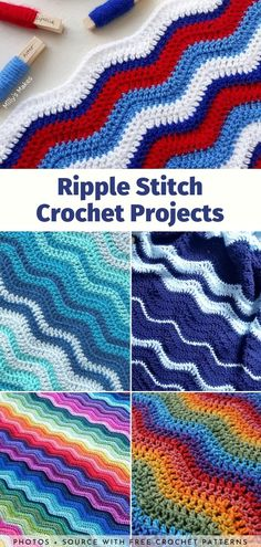 Baby clothes, kitchen stuff and, above all, various types of blankets. You can make all these things look amazing with one easy crochet stitch. Wondering how? Crochet Ripple, Manta Crochet, Granny Square Crochet Pattern, Free Crochet, Crocheted Afghans, Crochet Blankets, Crochet Baby, Crotchet Patterns, Crochet Blanket Patterns