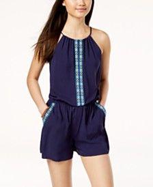 48e674726ed Be Bop Juniors  Sleeveless Tie-Front Romper Juniors - Dresses - Macy s