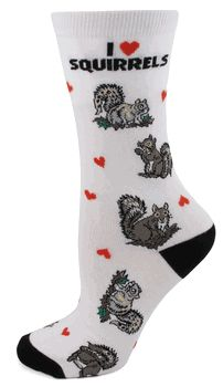 I Love My Dog Series of great socks. These socks feature squirrels - description on bottom of foot includes - Resourceful, Graceful, Hardy, Acrobatic, Herbivorous, Swift / Adult Size Medium 9-11 (fits