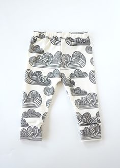 organic cotton leggings in swirly clouds from candy kirby designs
