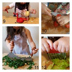 Cutting and chopping (*make sure your child is using knives and other sharp tools properly, putting her hand in the right place. Remind her again and again that no fingers should be on the cutting board) Montessori un-sensory bin Good Excuses, Maria Montessori, Teaching French, Sensory Bins, Fingers, Knives, Cutting Board, Tools, Children