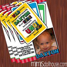 Uno Invitation- Printable Uno Game Birthday Invitation PDF/JPEG. $11.99, via Etsy.