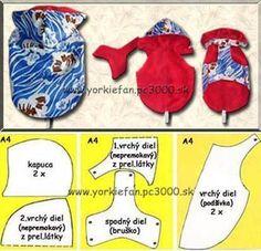 Kuvahaun tulos haulle střih na psí obleček Dog Clothes Patterns, Coat Patterns, Small Dog Clothes, Pet Clothes, Dog Coat Pattern, Dog Jacket, Dog Sweaters, Animal Fashion, Yorkshire Terriers