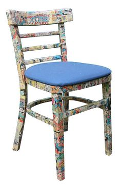 Vintage Comic Decoupage Chair  Would be so easy to do with Mod Podge!!!