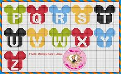 Cross Stitch Letters, Cross Stitch Art, Disney Letters, Cross Stitch Silhouette, Embroidery Alphabet, Pearler Bead Patterns, Needlepoint Patterns, Mickey And Friends, Plastic Canvas Patterns