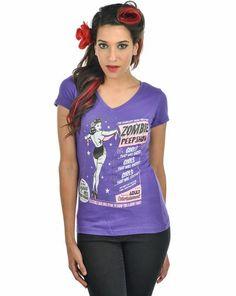Peep Show V-Neck Tee Purple