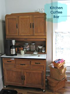 Would love to turn Hoosier cabinet into a coffee bar! Would love to turn Hoosier cabinet into a coffee bar! - Style Of Coffee Bar In Kitchen Coffee Cabinet, Home Bar Cabinet, Cabinet Ideas, Coffee Bar Station, Home Coffee Stations, Home Decor Kitchen, Home Kitchens, Kitchen Ideas, Coffee Bars In Kitchen
