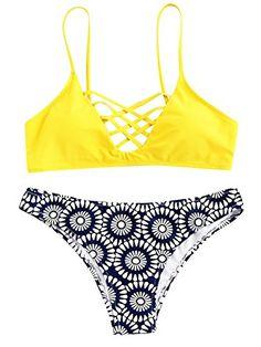 2636372c578 SweatyRocks Womens Bathing Suit Adjustable Spaghetti Strap Floral Print  Criss Cross Bikini Set