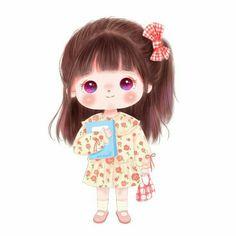 Cute Cartoon Pictures, Cute Cartoon Drawings, Girly Drawings, Anime Girl Drawings, Cute Profile Pictures, Kawaii Drawings, Little Girl Cartoon, Cute Girl Illustration, Girl Cartoon Characters