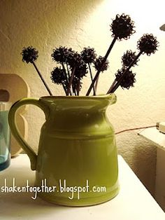 {create this} Sweet Gum Ball Flowers - Shaken Together Nature Crafts, Fall Crafts, Diy Crafts, Sweet Gum Tree Crafts, Childrens Christmas Crafts, Christmas Ideas, Outside Decorations, Crafty Kids, How To Make Diy