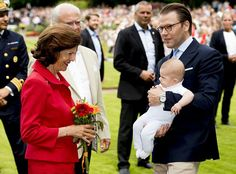 Queen Silvia, King Carl Gustaf, Prince Daniel and baby Prince Oscar of Sweden during Birthday celebrations of Crown Princess Victoria of Sweden at Solliden Palace on July 14, 2016 in Oland, Sweden