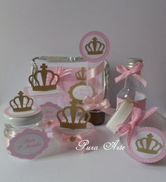 Kit Scrap Festa Princesa Rosa/dourado