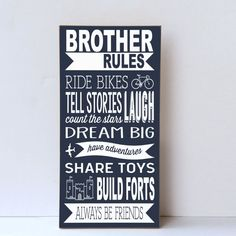 Brother Rules Wood Sign, Boys Room Decor, Playroom Wall Sign, Brother Sign, Wall…