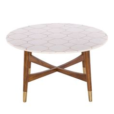 Trent White Marble and Brass Inlay Coffee Table