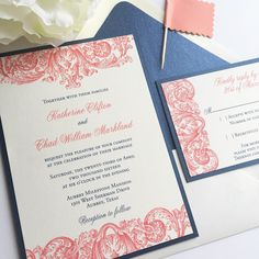Affordable thermography wedding invitations, navy and coral
