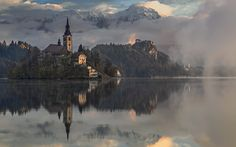Bled Photo by Azman Miro Bohinj, Lake Bled, Slovenia, The Great Outdoors, Places To Travel, Reflection, Architecture, Nature, Landscapes