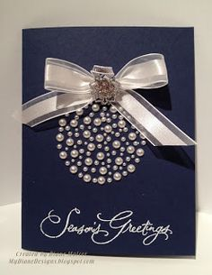 Merry Pearls by Diane Malcor (USA-OR) I cannot take credit for this lovely card… Christmas Card Crafts, Homemade Christmas Cards, Christmas Cards To Make, Christmas Projects, Homemade Cards, Handmade Christmas, Holiday Crafts, Christmas Decorations, Merry Christmas