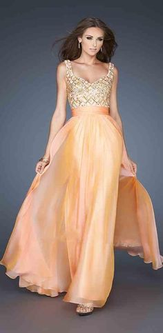 Long Sleeveless A-Line Chiffon Orange Evening Dresses ykdress5189