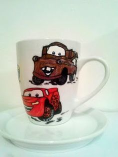 """Handmade by Do : Painted cup """"Cars""""/ Cană pictată """"Cars"""" On October 3rd, July 4th, December, Greek Pattern, Ceramic Angels, Painted Cups, Flower Stands, Coffee Set, Hand Painted Ceramics"""