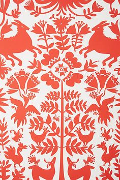 Folkloric Forest Wallpaper - anthropologie.com (red)