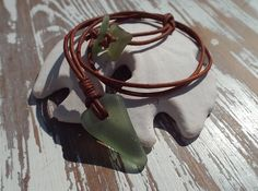 Sea glass and Leather Necklace - Seafoam Sea Glass - Scottish SeaGlass- by Natures Design