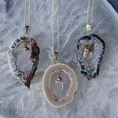 Agate Slice Pendants with Quartz Charm to protect relationships