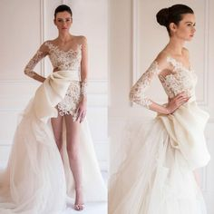 Cheap Maison Yeya 2015 - Discount Maison Yeya 2015 Wedding Dresses a Line Sheer Bodice Long Sleeve Tulle Organza High front And Long Back Bridal Dresses Dhyz 01 Online with $188.49/Piece | DHgate