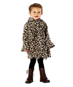 Leopard Double-Ruffle Coat - Infant & Toddler