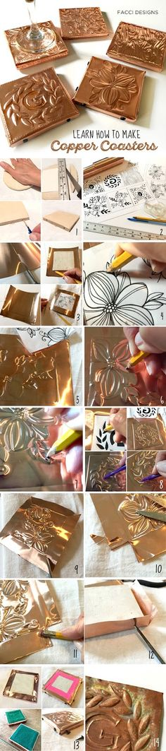 Let Facci Designs show you how to make your own Copper Coasters. Makes a great Father's Day or Housewarming gift.