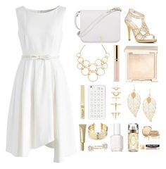 """""""Golden Innocence"""" by stormwlf ❤ liked on Polyvore featuring Chicwish, Caparros, Vera Bradley, Furla, Beautycounter, Jouer, Luv Aj, MICHAEL Michael Kors, Essie and Lancôme"""