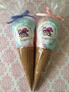Cotton Candy Ice cream cone favors 12 custom by BellissimaParty