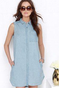 Whisked Away Blue Chambray Shirt Dress