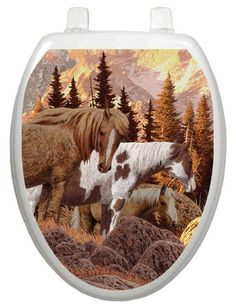 Themes Wild Horses Toilet Seat Decal