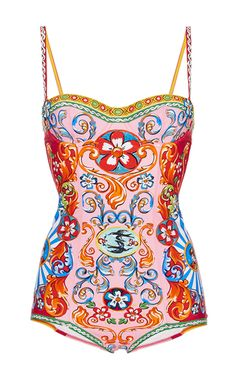 Printed Bustier One Piece Swimsuit by DOLCE & GABBANA Now Available on Moda Operandi