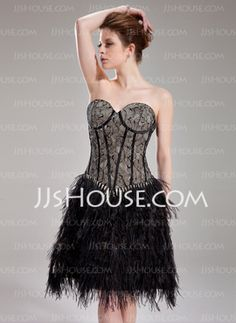 A-Line Princess Sweetheart Knee-Length Charmeuse Feather Cocktail Dress  With Lace ( 6eb31df9c