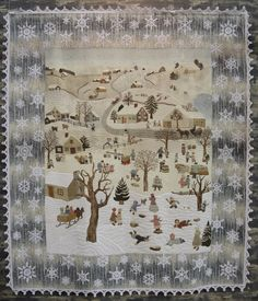 """""""Winter Memories"""" by Chieko Shiraishi. Japanese taupe quilt. The snowflakes were crocheted and then appliqued to the border of the quilt. Photo by Julie Fukuda at My Quilt Diary: 2015 Tokyo International Quilt Festival"""