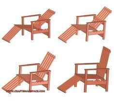 Garden adjustable wooden chair plan